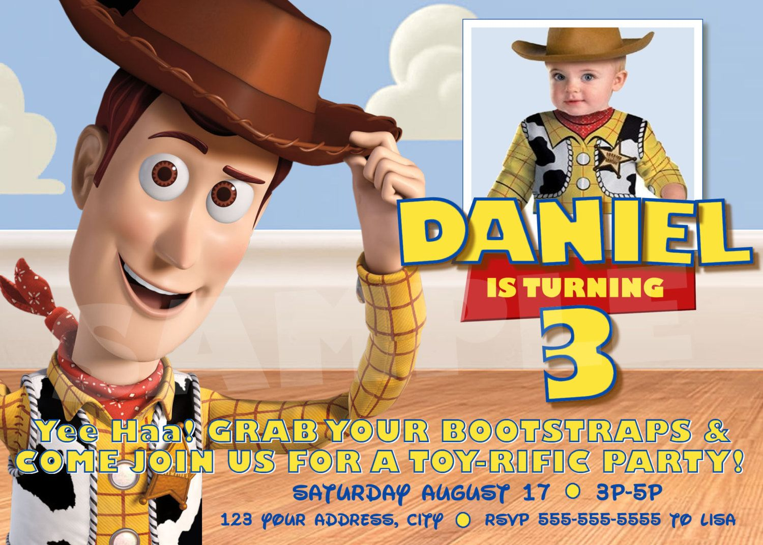 Toy Story Invitation for Birthday Party - Woody Invitations for ...