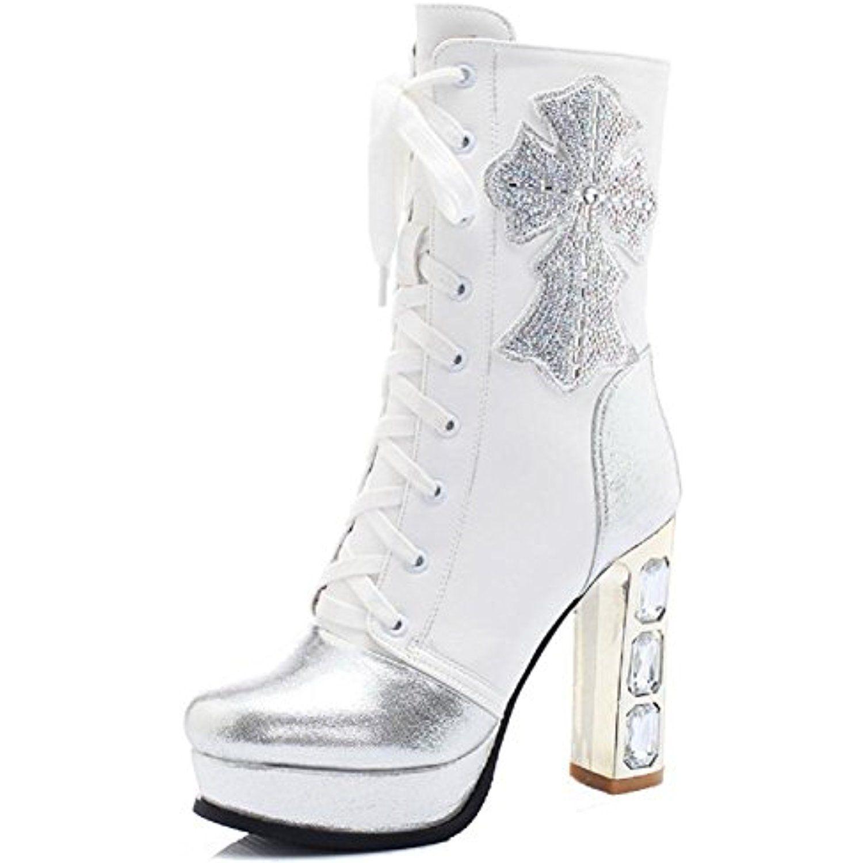 Women's Zipper High Heels Blend Materials Solid Low Top Boots