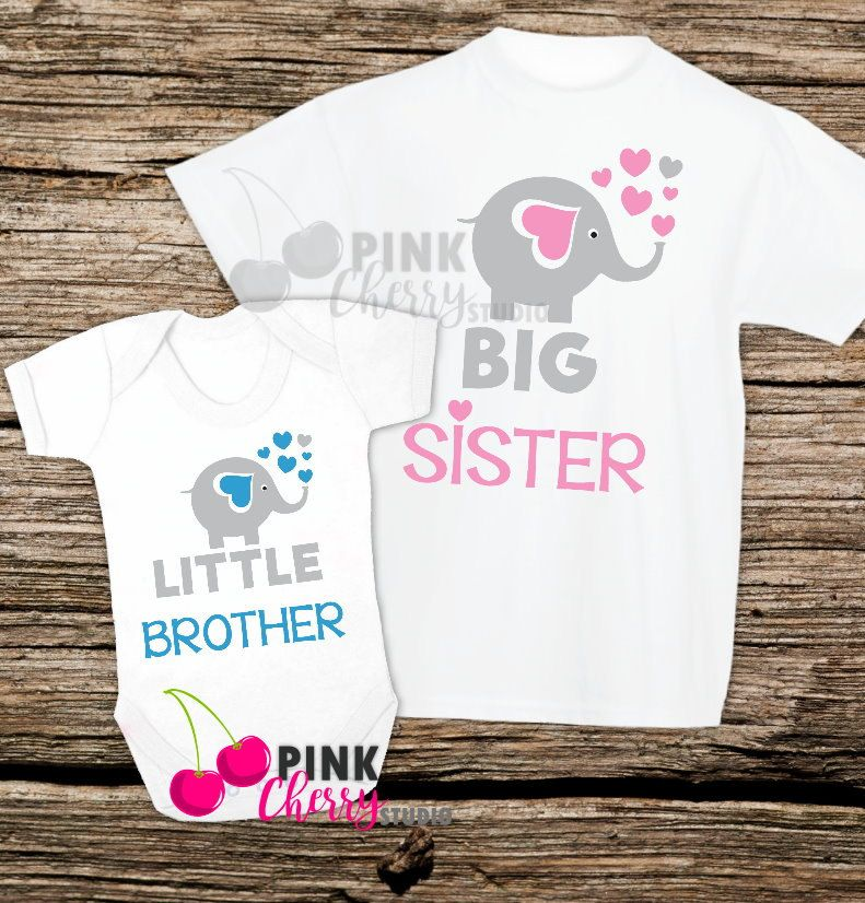 c2b6add7 Big Sister - Little Brother Set - Elephant Boy Girl set- Baby Clothing -  Baby…