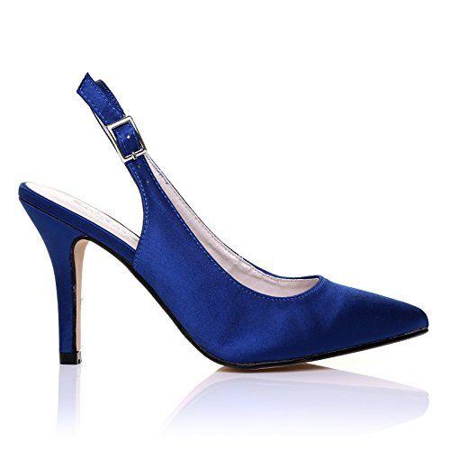 Navy High Heels, High Heels Stilettos, Shoes Heels, Satin Bleu, Satin Pumps 5efb27dab578