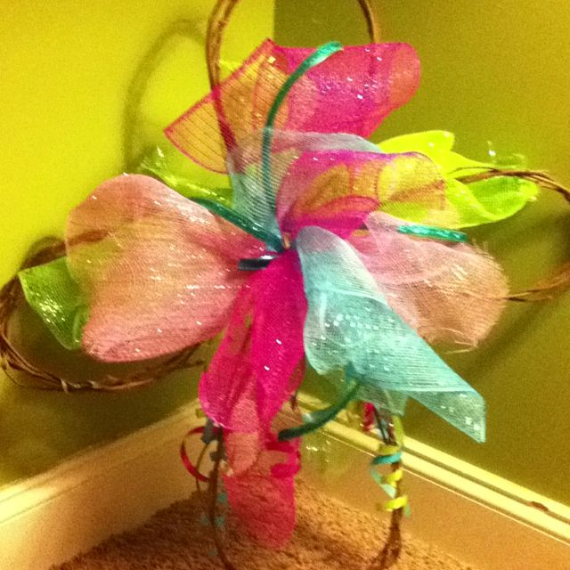 Grapevine cross I added tulle too for my door & one for my sisters grave.