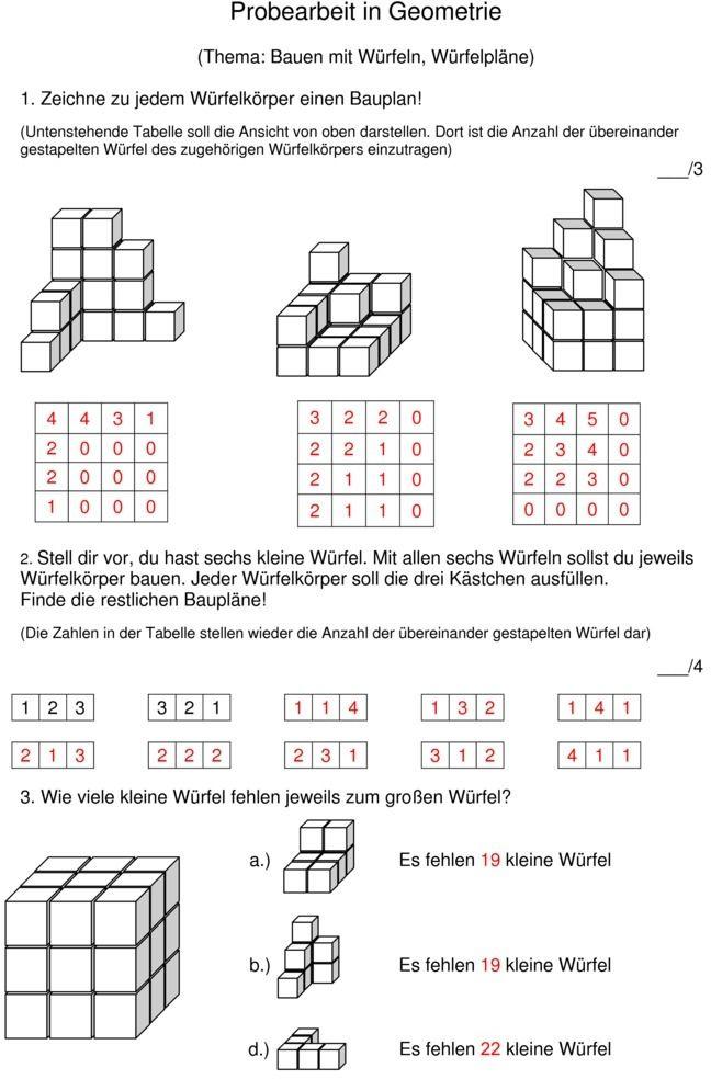 Klassenarbeit zu Würfelgebäude | Mathe | Pinterest | Mathe ...