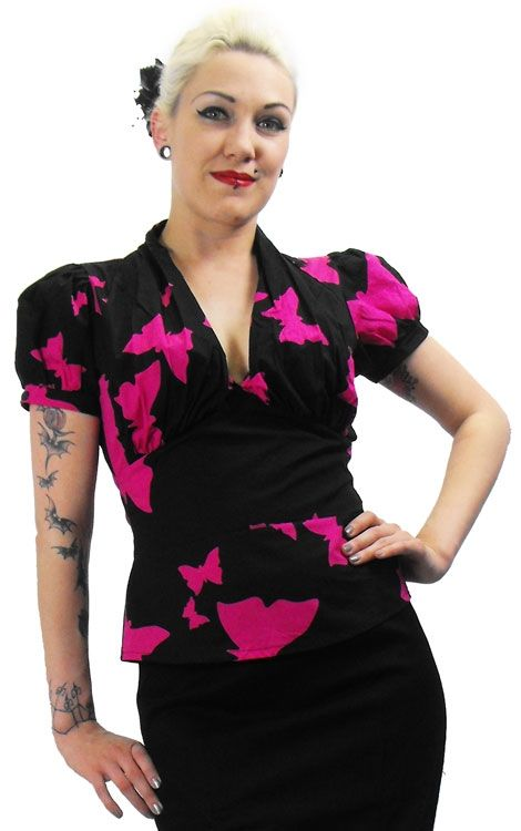 Necessary Evil Neith 40's Style Pink Butterfly Print Blouse