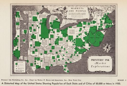 Old School Cartograms 1930 A Distorted Map of the United States