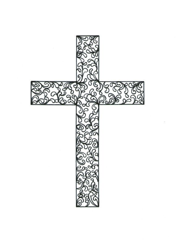 Easter Cross Cruxifix 4 X 6 Zentangle Print Of By