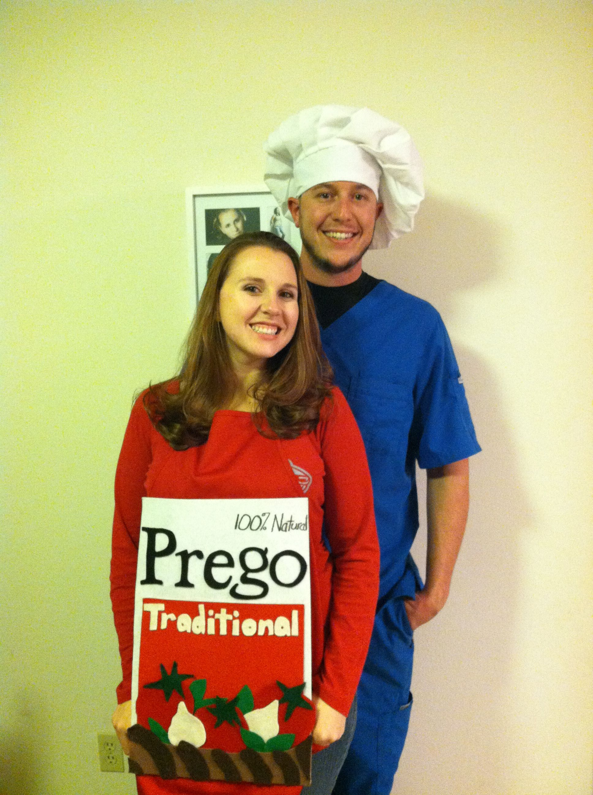Pregnant Halloween costume couples costumes pregnancy announcement Prego spaghetti costume pregnancy Halloween costumes  sc 1 st  Pinterest & Announcing our