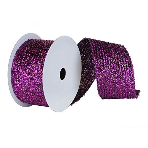 Extra Wide Purple Woven Metallic Wired Christmas And Craft Ribbon 6 X 10 Yards Be Sure To Check Out This Metallic Christmas Purple Weave Decorative Holiday