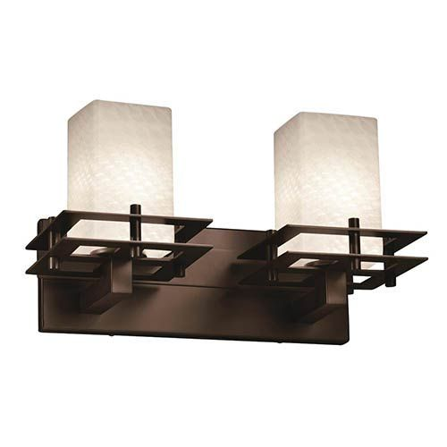 Photo of Justice Design Group FSN-8172-15-WEVE-DBRZ Fusion Two-Light Bath Bar in Dark Bronze Uplight, Transitional | Bellacor