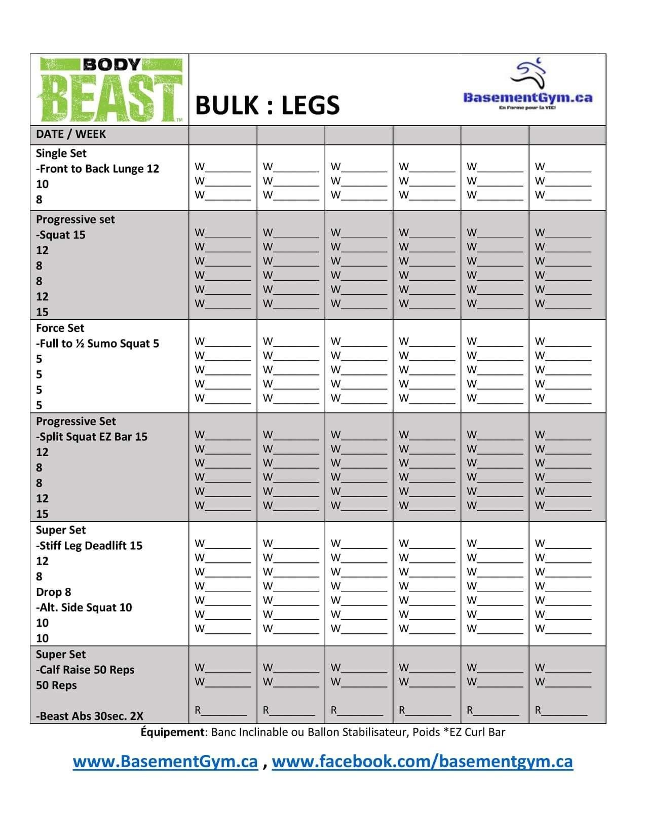 Body Beast Bulk Legs Worksheet