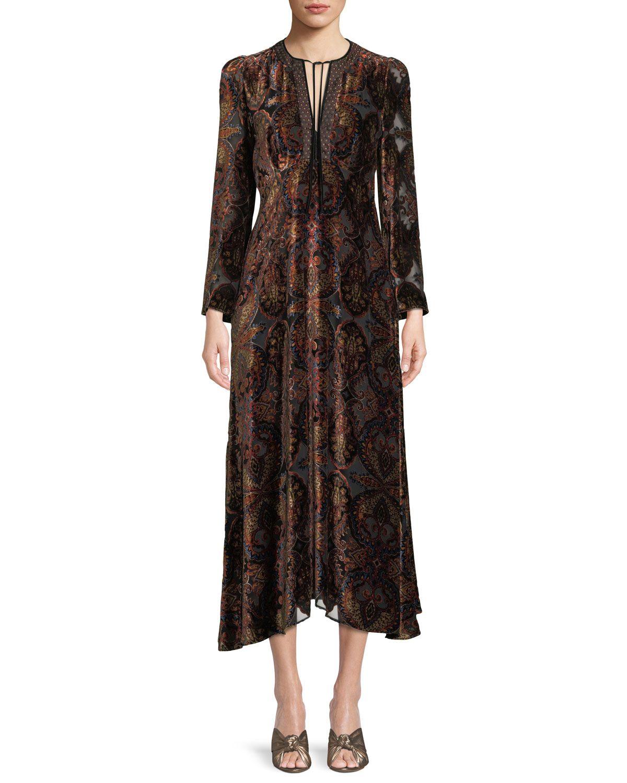 e6eae232b71 Paisley-Print Velvet A-Line Granny Dress w  Cravat Trim