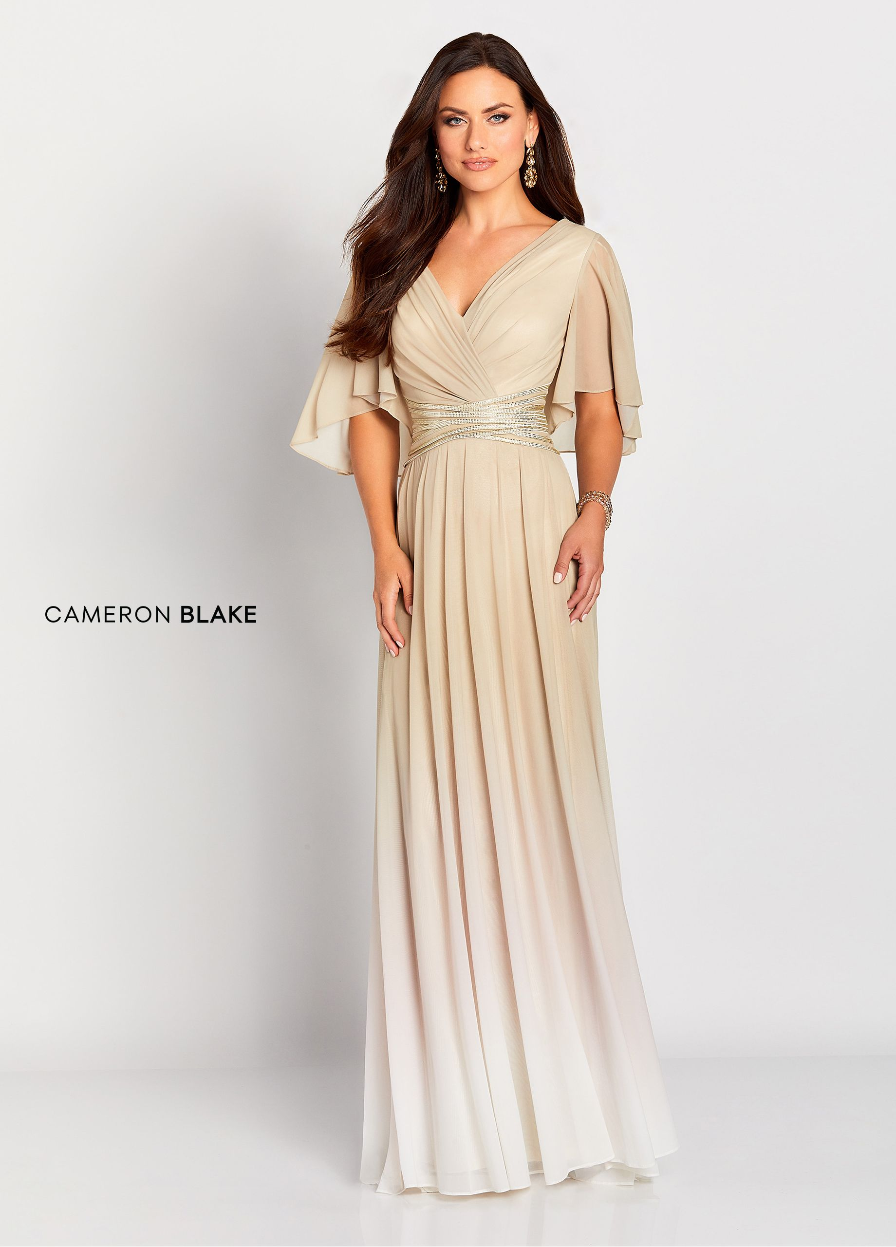 02e2b064e99d9 Cameron Blake 119657 - Three quarter sleeve ombre strech mesh a-line gown  with a sheer flutter sleeve, ruched v-neckline, banded waist detail that is  beaded ...