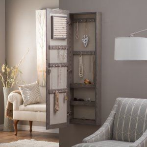 Wall Mounted Locking Mirrored Jewelry Armoire Driftwood Jewelry