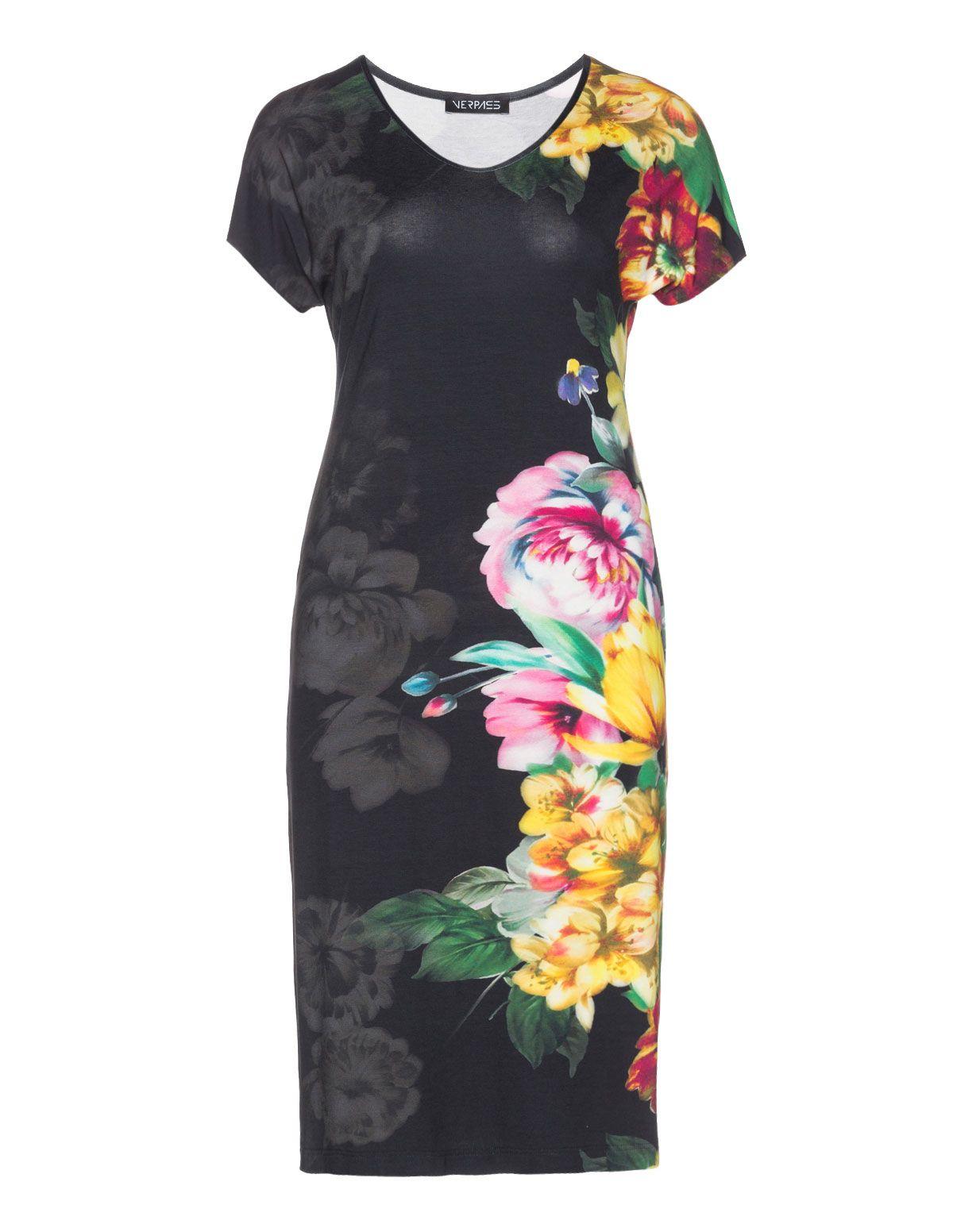 9e90f7ce02c4d2 Verpass Floral print jersey dress in Black / Yellow Jurken In Grote Maten,  Mode Jurken
