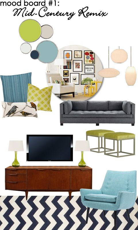 Family Room Mood Board: Mid-Century Remix - Color Scheme, Art Wall