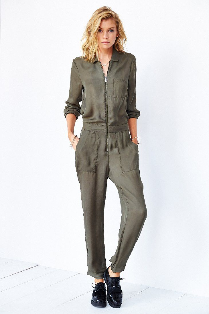 72f120d6379 Silence + Noise Silky Flight Jumpsuit - Urban Outfitters