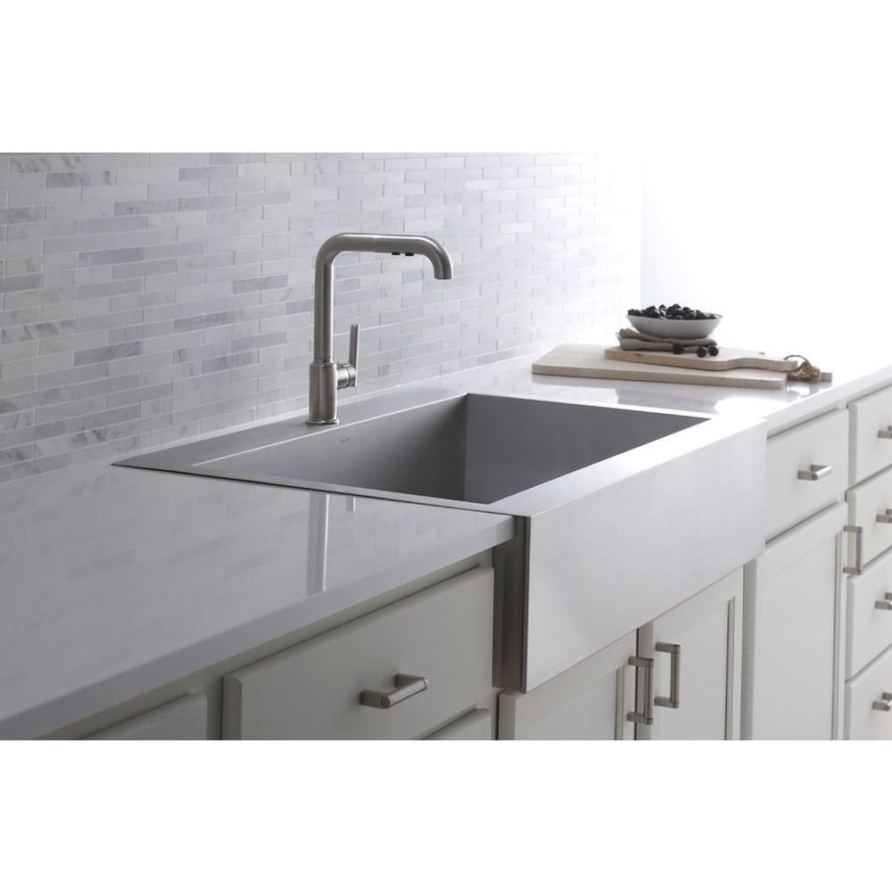 Kohler Vault Top Mount Farmhouse Apron Front Stainless Steel 36 In 1 Hole Single Farmhouse Sink Kitchen Stainless Farmhouse Sink Stainless Steel Kitchen Sink