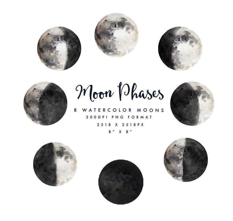 Watercolor Moon Phases Small Set Individual Png Files Hand Etsy Watercolor Moon Moon Phases Moon Phase Photo