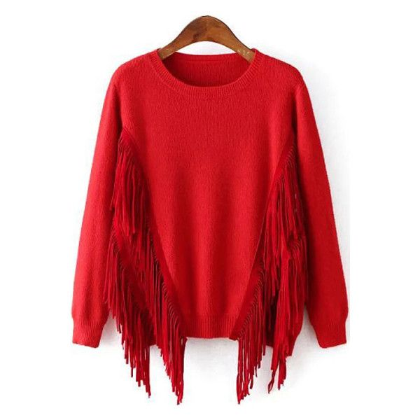 Red Fringe Design Round Neck Long Sleeve Chic Sweater ($23 ...