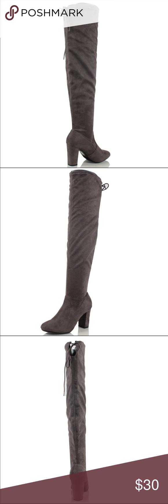 c5699a6b4b7 Gray Faux Suede Knee High Boots 4 inch heel. Dark grey suede. Worn ...