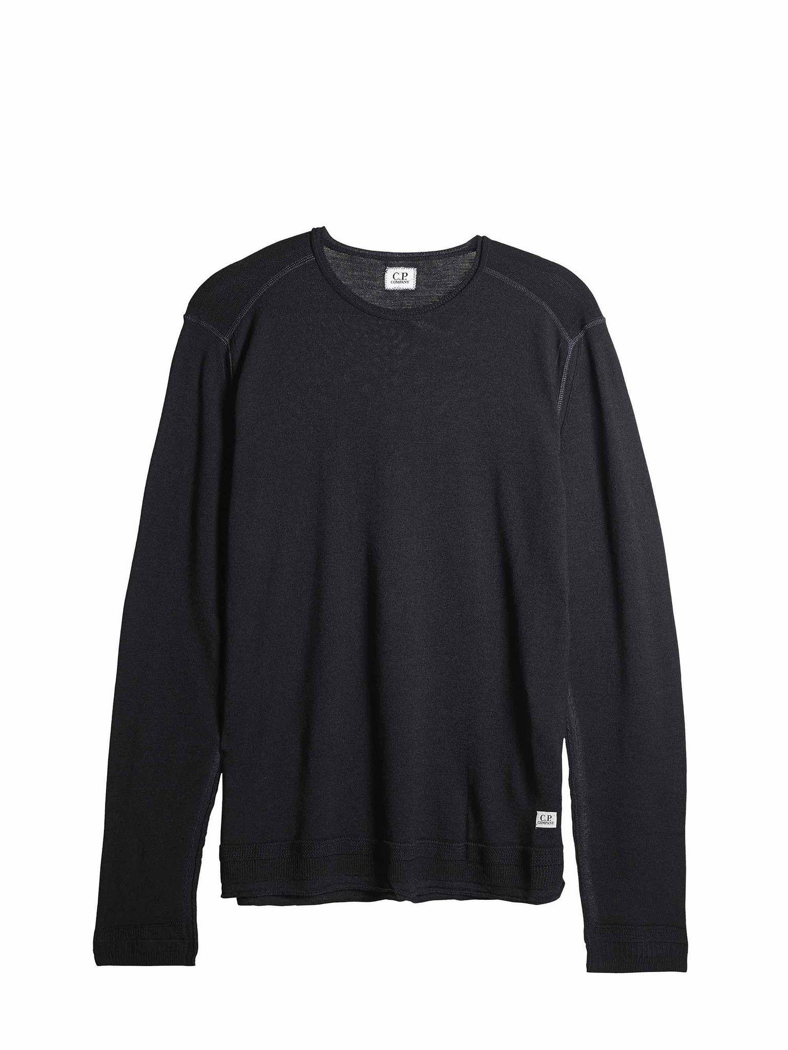 C.P. Company 14 Gauge Merino Wool Sweatshirt in Black