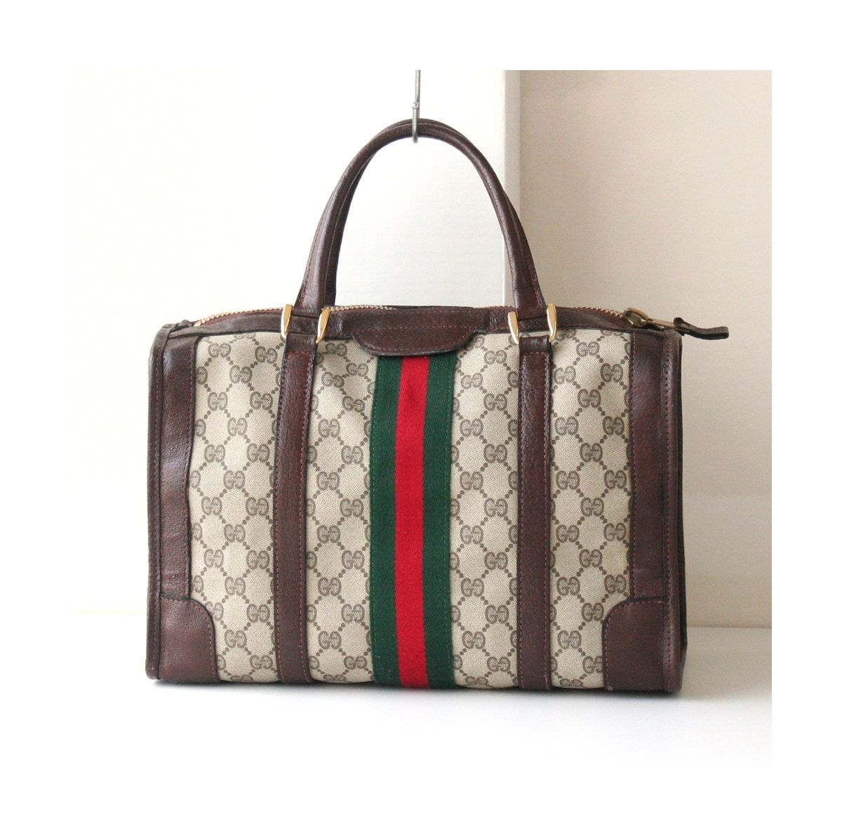 5d4d36dc118 Gucci monogram vintage boston bag authentic red green brown tote handbag  purse by hfvin on Etsy