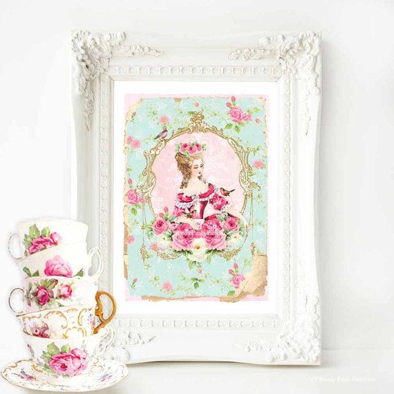 Marie Antoinette print French vintage decor by MulberryslittleMuse