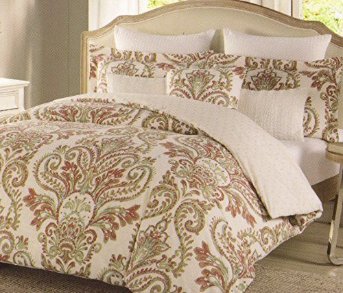 nicole miller home jada medallions red orange rust turquoise sage full queen duvet cover set paisley medallion reversible thick cotton canvas