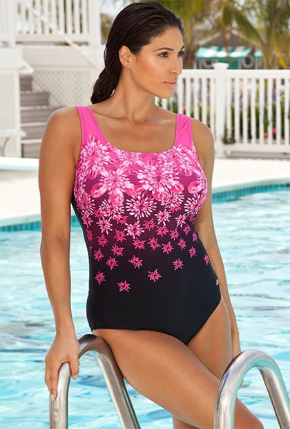 49aedee19d8 Aquabelle Engineered Pink Exploded Floral Swimsuit - Love the colour