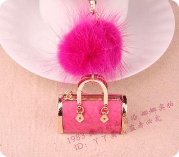 Fashion mink hair full rhinestone small bag keychain car key women's fox fur bag