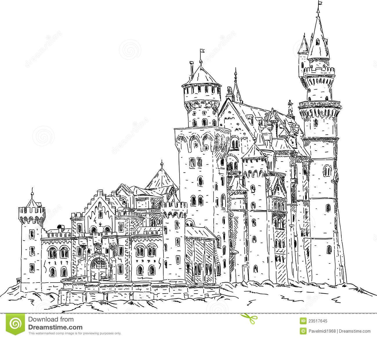 Illustration About Vector Neuschwanstein Castle In Germany