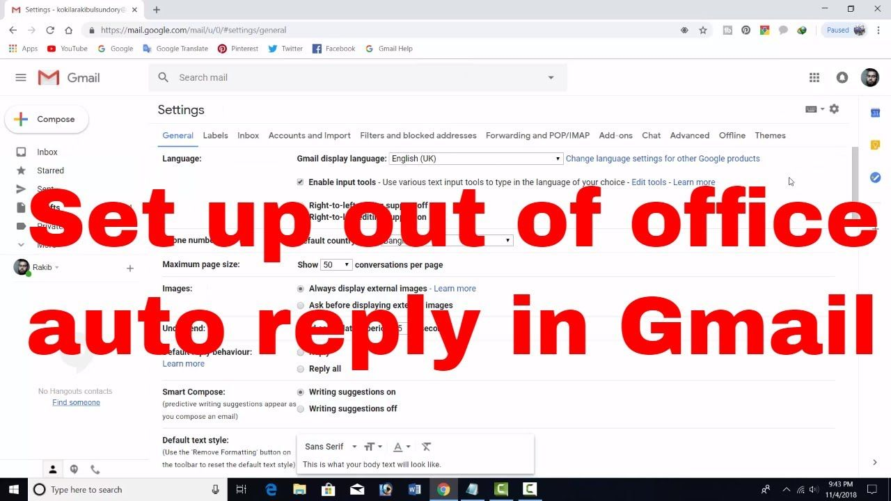 How To Set Up Out Of Office Or Vacation Responder Auto Reply From