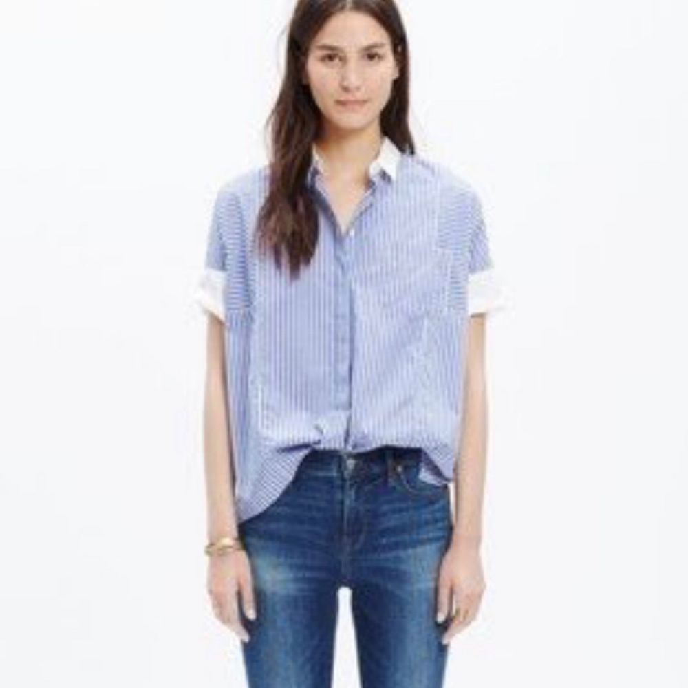 a37782aa1 Madewell Womens Size XS Blue Boxy Short Sleeve Striped Button Down Shirt  #fashion #clothing #shoes #accessories #womensclothing #tops (ebay link)