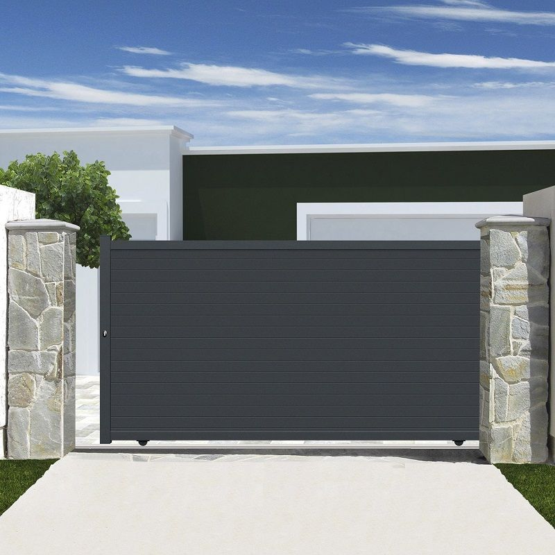 Portail Coulissant Aluminium Rioave Gris Portail Leroy Merlin Portail Coulissant Abri De Jardin Idees Pour La Maison