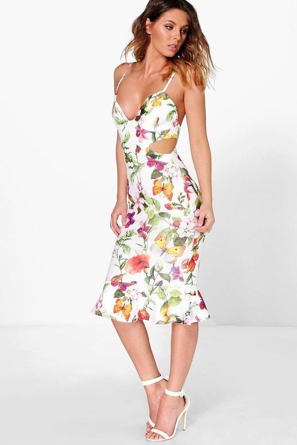 1036c42da831 boohoo Dorris Floral Cut Out Side Peplum Hem Midi Dress | Alluring ...