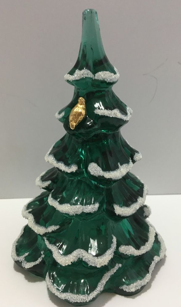 fenton green glass snow frosted christmas tree gold partridge figurine 6 5 mint ebay - Ebay Christmas Trees