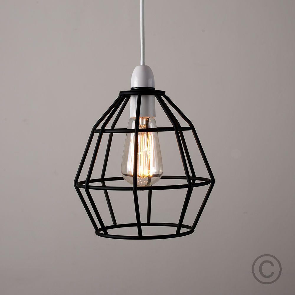 Modern Black Metal Wire Frame Ceiling Pendant Light Lamp Shade ...