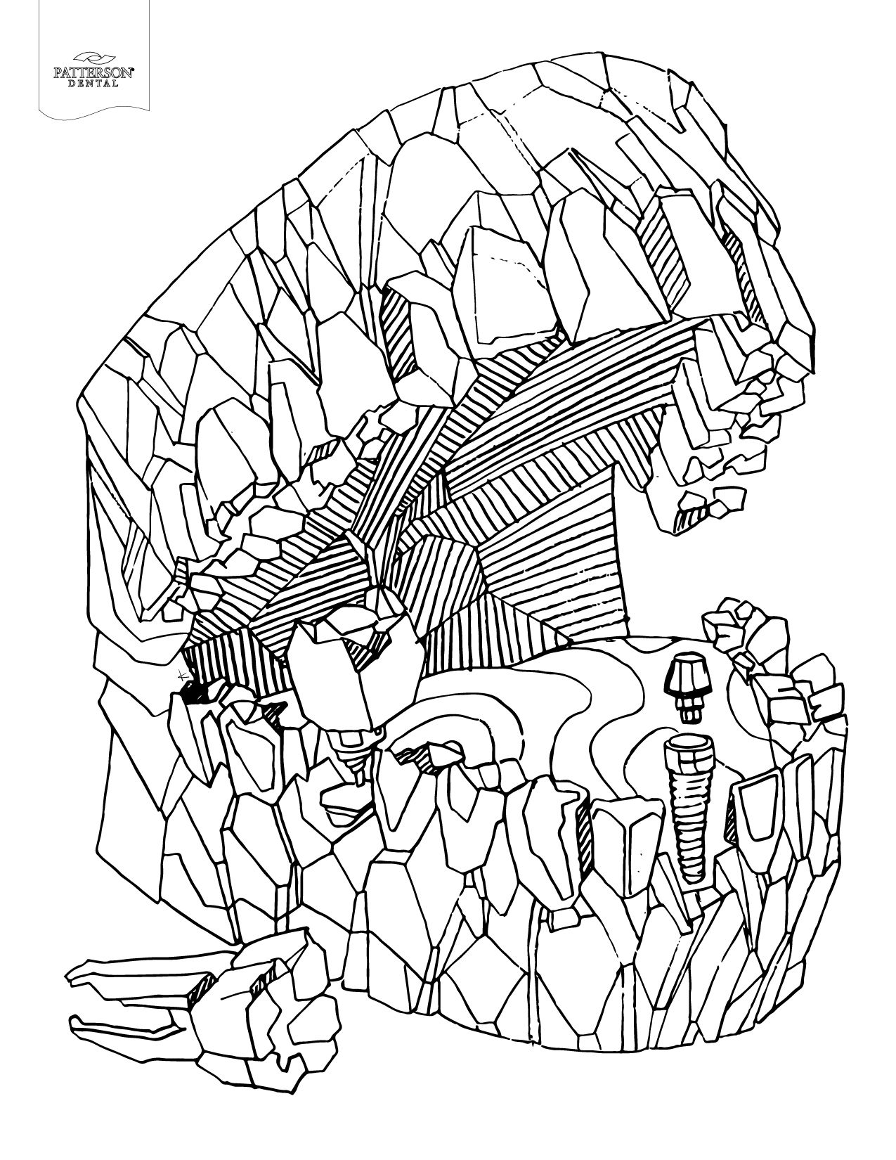 Mouth carved from rock adult coloring page. Talk about a