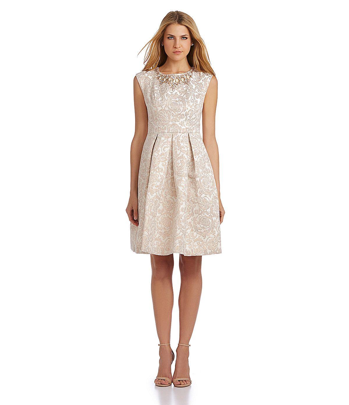 Eliza J Beaded Jacquard Fit and Flare Dress   Dillards.com   Fit ...