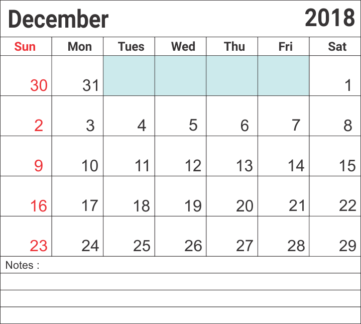 December 2018 Calendar Template By Week #december2018calendar #december2018 #calendars ...