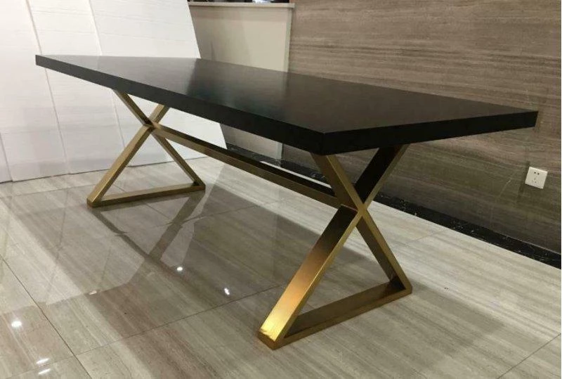 Homy Living Conway Oak Wood And Metal Finish Dining Table Dining