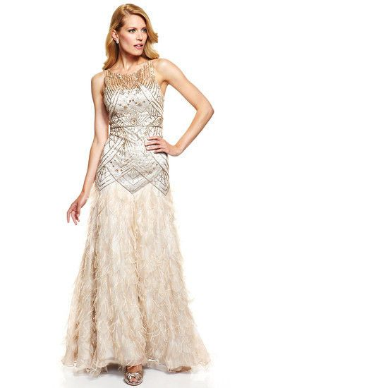 Sz 10 Sue Wong Feather Gown Dress Wedding Bridal Prom Champagne