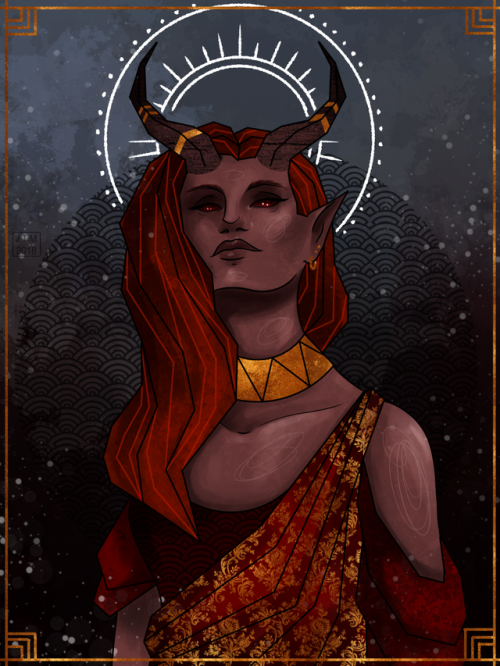Solace, Celestial Warlock (Pact Of The Tome). Art By Jennifer Mitchell.