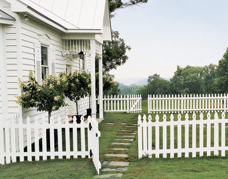 white picket fences. What's not to like. I have a piece of the white picket fence of my home place. I of my most cherish possessions.