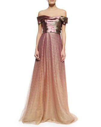 Off The Shoulder Ombre Gown By Rene Ruiz At Neiman Marcus Epic