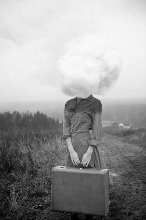 Traveler Girl With Cloud Black And White Surreal Photography - Surreal faceless portraits will haunt nightmares