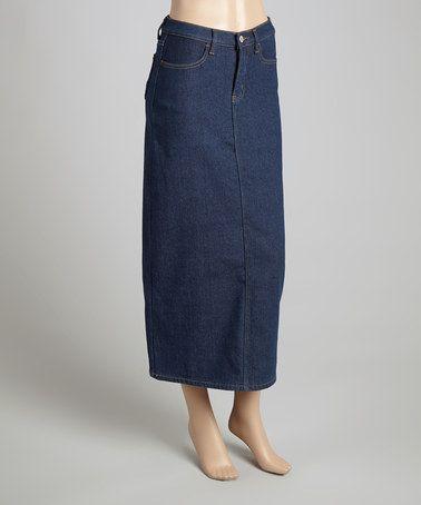 9576f40d1 Dark Indigo Fleece-Lined Denim Skirt - Women by be-girl #zulily #zulilyfinds