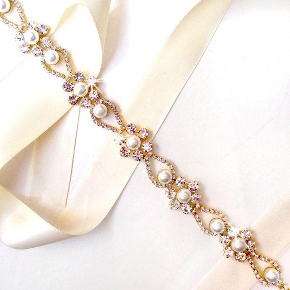 Pearl Flower Bridal Belt Sash Or Headband In Gold Custom Ribbon White Ivory Silver