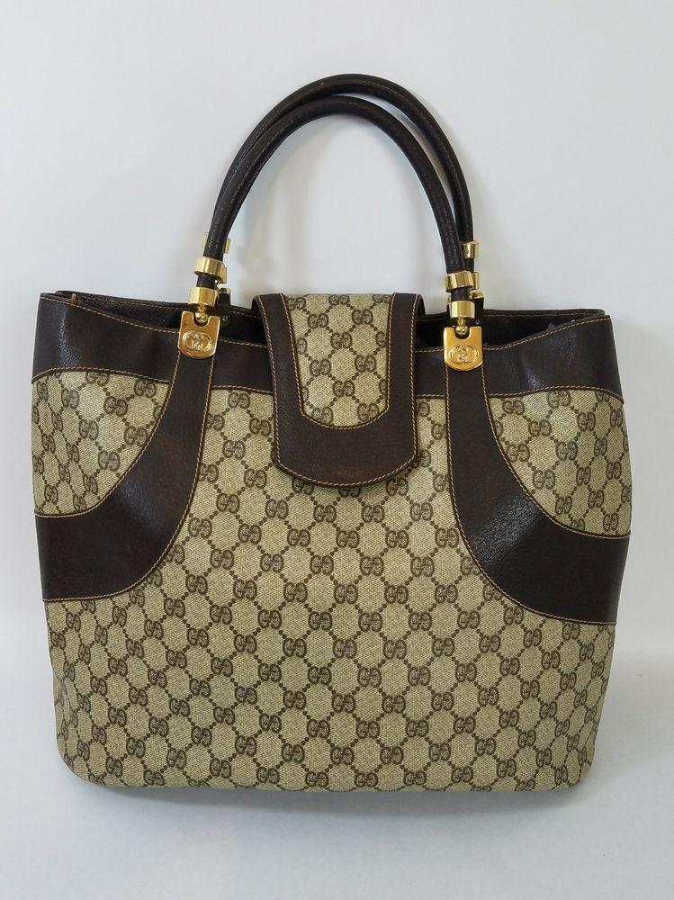 48a45b1ff5b536 Vintage Gucci Tote Shopper Bag Extra Large Big GG Monogram Authentic Rare  70's #Gucci #ShopperShoppingToteVintage