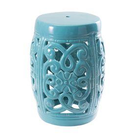 Sunjoy 18 In Turquoise Ceramic Barrel Garden Stool 110207026 2