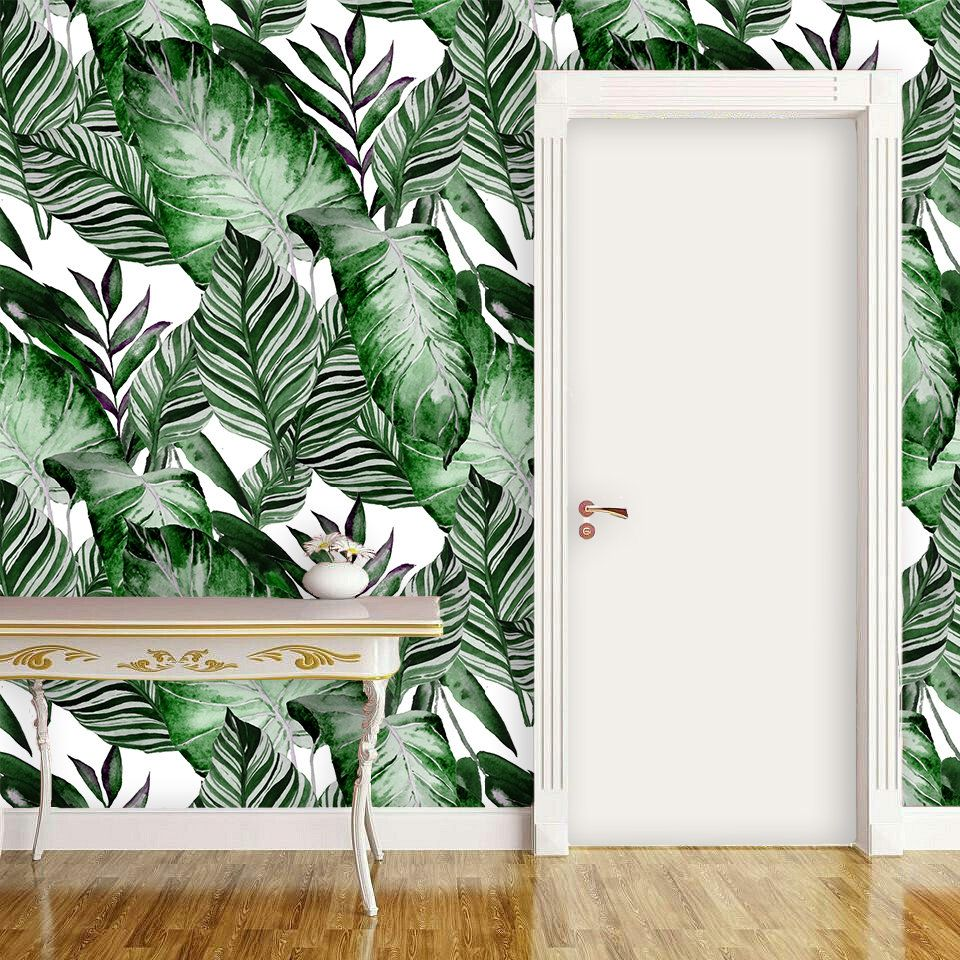 Green and white wallpaper for walls